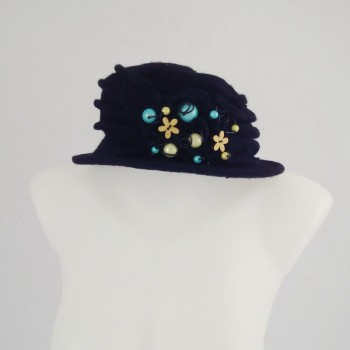 Chapeau noir 100% laine