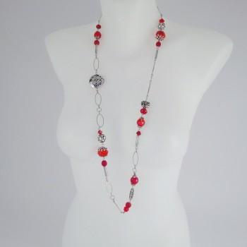 Sautoir perles de murano rouge