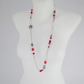 Sautoir perles fantaisies rouge