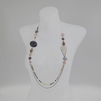 Sautoir multirang et perles beige/marron