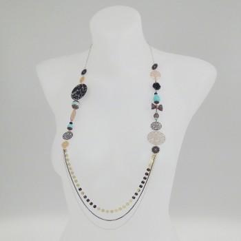 Sautoir multirang et perles turquoises