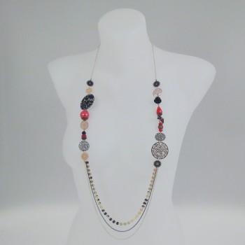 Sautoir multirang et perles rouges
