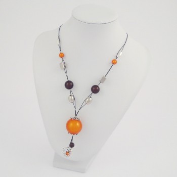 Collier câble magic orange et marron