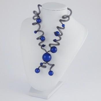 Collier zig zag long bleu