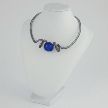 Collier zig zag bleu
