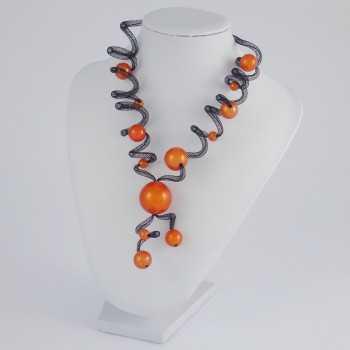 Collier zig zag long orange