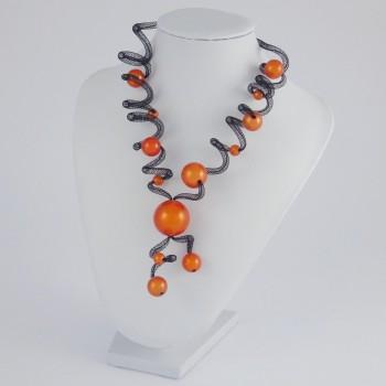 Collier zig zag long orange