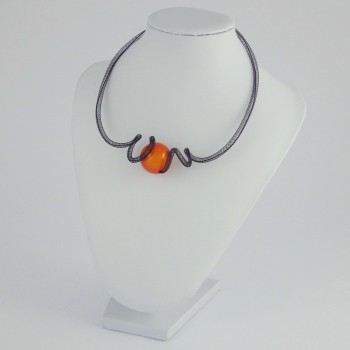 Collier zig zag orange