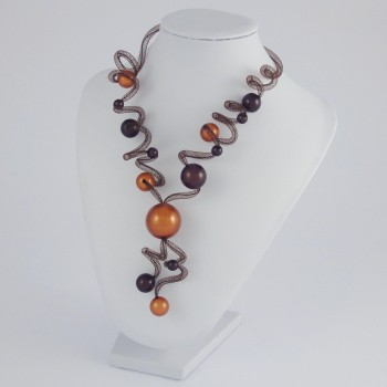 Collier zig zag long orange et marron