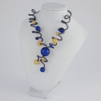 Collier zig zag long jaune et bleu