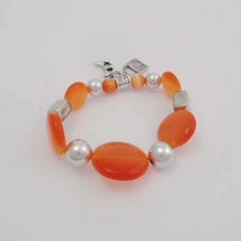 Bracelet couleurs oeil de chat orange
