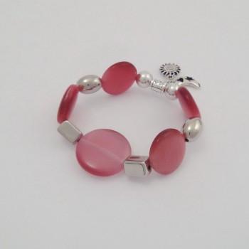Bracelet couleurs oeil de chat vieux rose