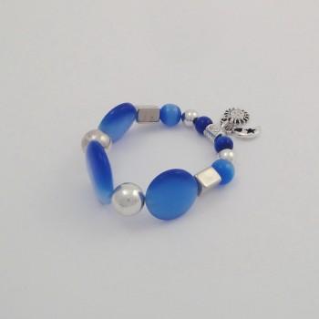 Bracelet couleurs oeil de chat bleu